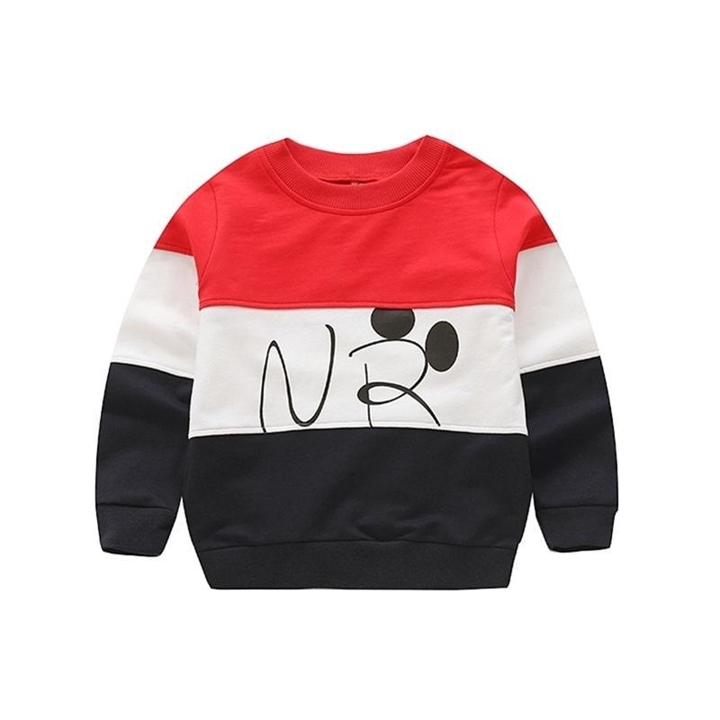 V-Baum-Baby-Jungen-Sweatshirt Baumwoll-T-Shirt für Junge 2 Farben Frühling Herbst Tops für Kinder T-Shirt Kinder-Outwear 2-8 Jahre LJ201216