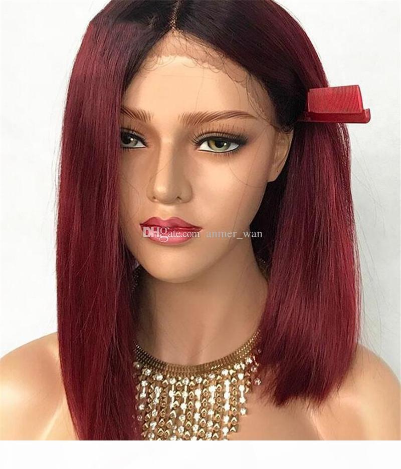 Blanchies Nœuds droite en dentelle pleine perruque Ombre perruque de cheveux humains avec bébé cheveux brésilien non Remy Lace cheveux