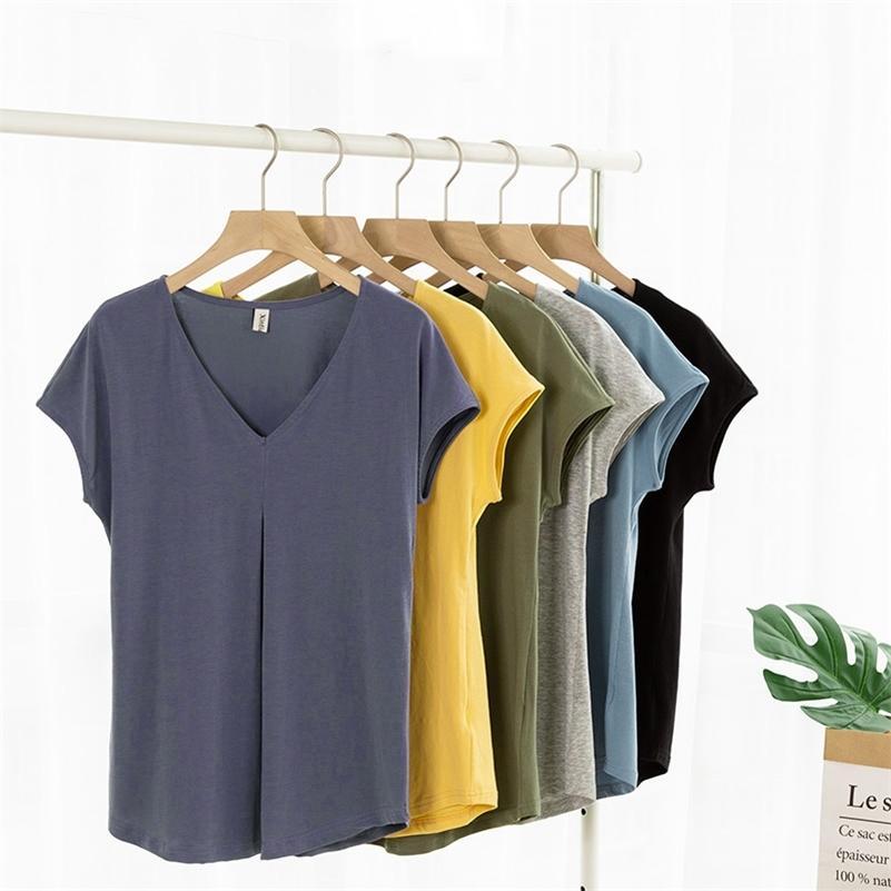 Casual Short Sleeve V-neck Summer Women Cotton T-Shirt Loose Tops Plus Size LJ200814