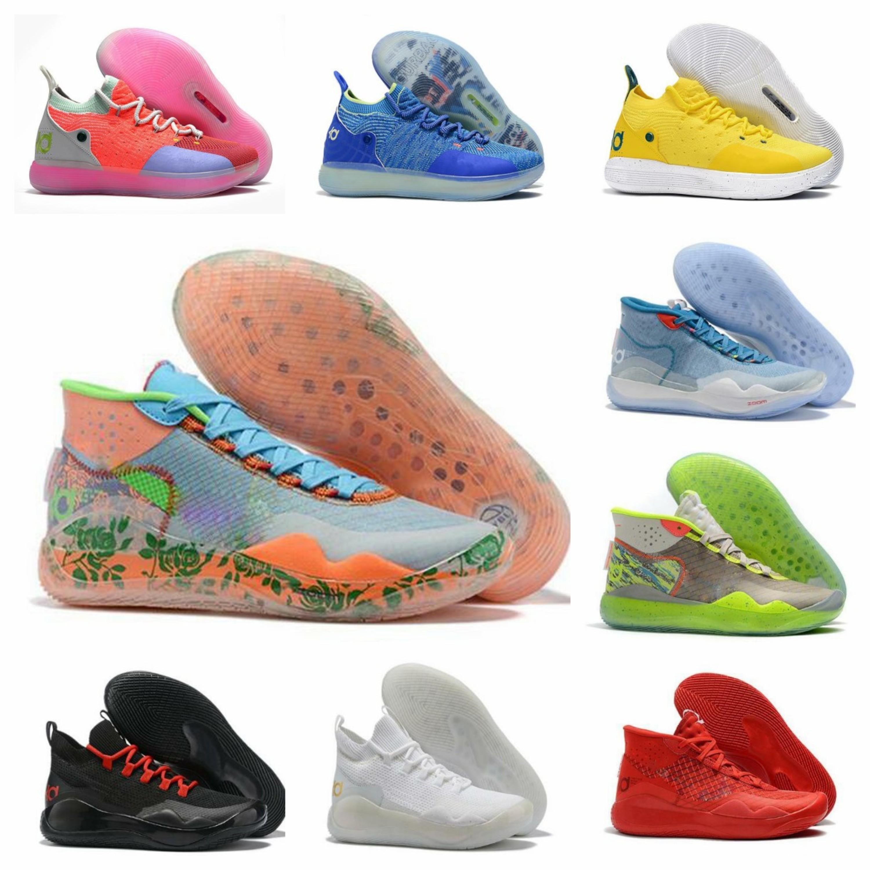 2019 zapatos de baloncesto de la Universidad KD 12 EYBL Peach Jam Rojo Los 90 Kid Protro Camo verde Kevin Durant 11 Lobo gris Oreo las zapatillas de deporte