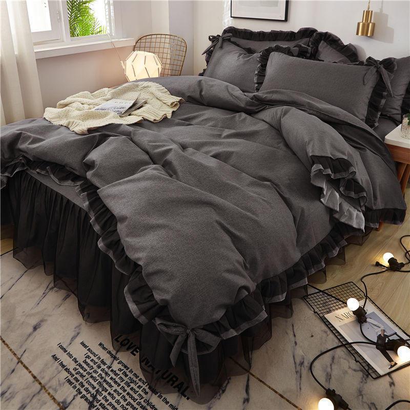 Fabrika Doğrudan Satış Sıcak Stil Siyah Dantel Dört Parçalı Prenses Rüzgar Yatak Etek 1.5 / 1.8m Yatak
