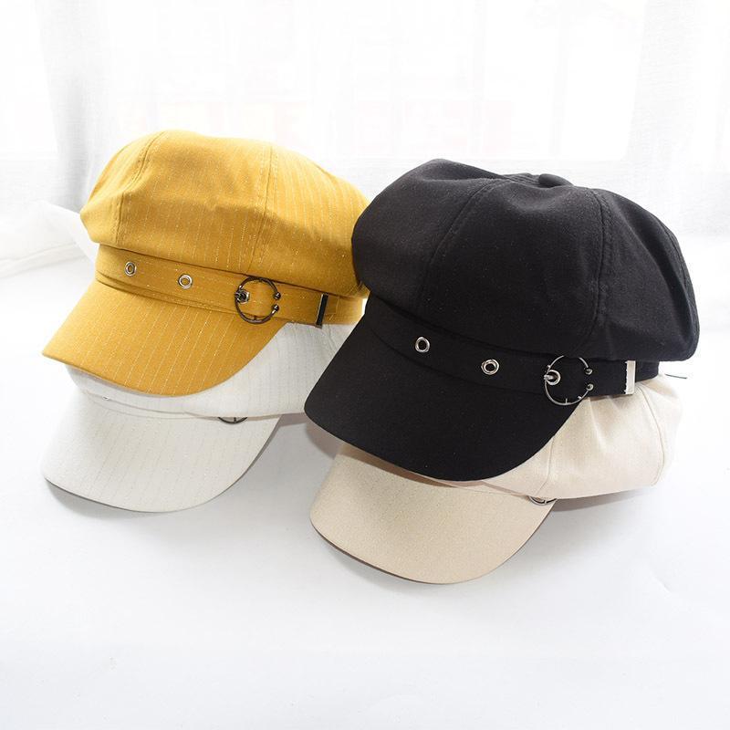 Moda Şapka Kadınlar Sekizgen Cap Bereliler Çizgili Retro Fransız Sanatçı Şapka Ressam Sekizgen Şapka Siyah Kahverengi Casual Caps