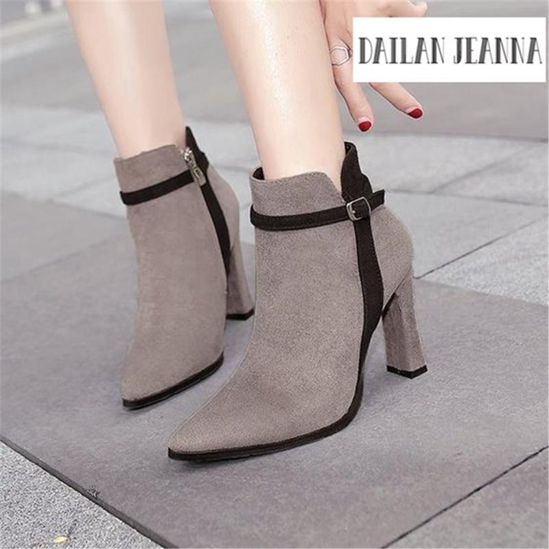European fashion color matching Ms. shoes popular upscale high-heeled Women's boots Han edition hot ladies Short boots