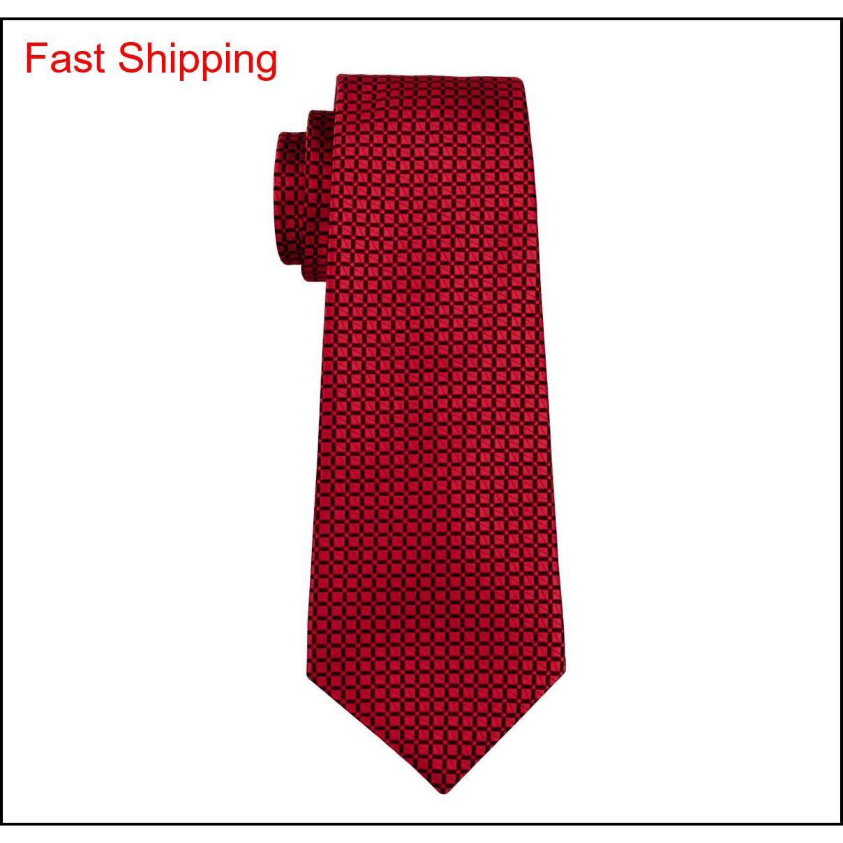 Set di cravatta di seta classica da uomo rosso cravatta controlli per gli uomini cravatta cravatta con gemelli jacquard woven riunione business we qylste nana_shop
