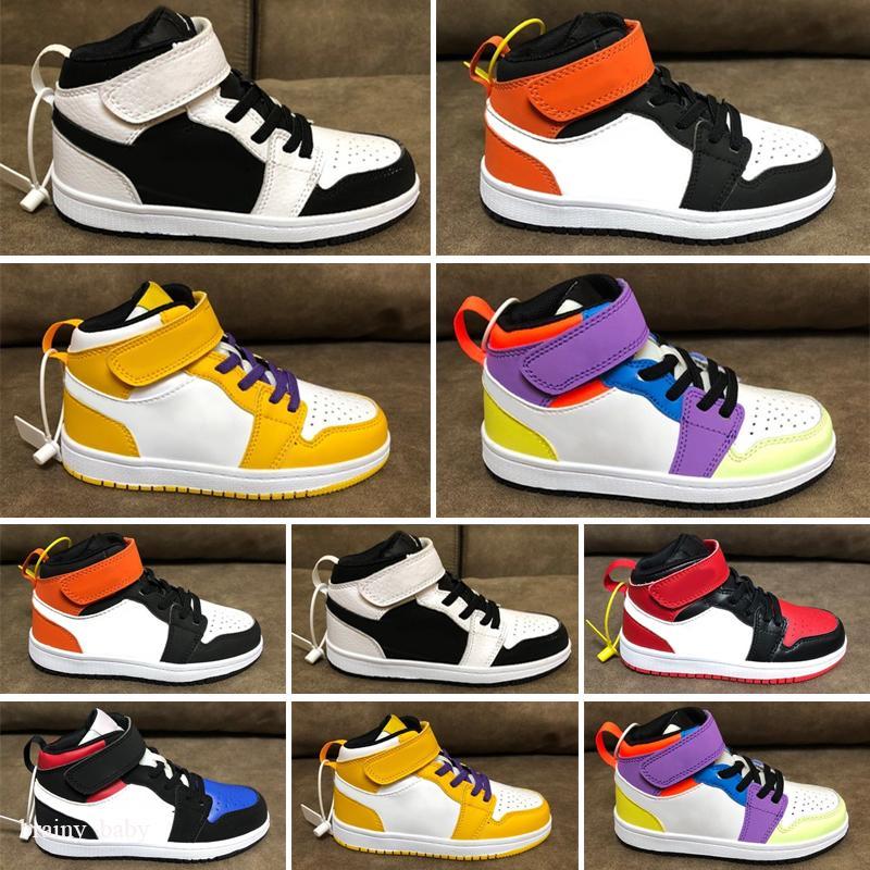 Zapatos para niños 1s Top Obsidian UNC Fearless First Class Flight Phantom Turbo Red 1 Tablero Deporte Deporte Zapatillas Deporte Entrenador Hombres Mujeres