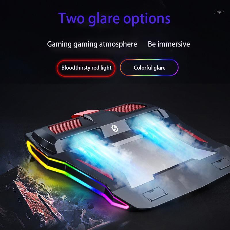 Охлаждающие колодки для ноутбука 2021 игровой кулер RGB ноутбук стенд 3000 об / мин мощный воздушный расход регулируемый подушка для 12-17 дюймов ноутбук1
