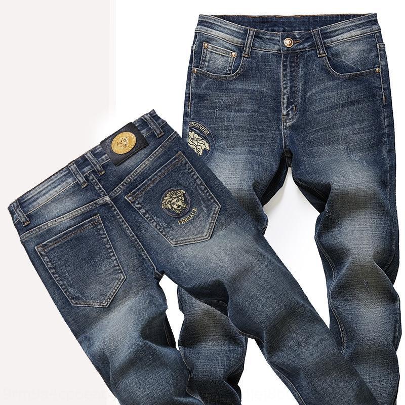 dos homens estiramento calças jeans Calças bordados e calças slim fit reta Mei Dusha outono e inverno calças da moda bordado egp7R egp