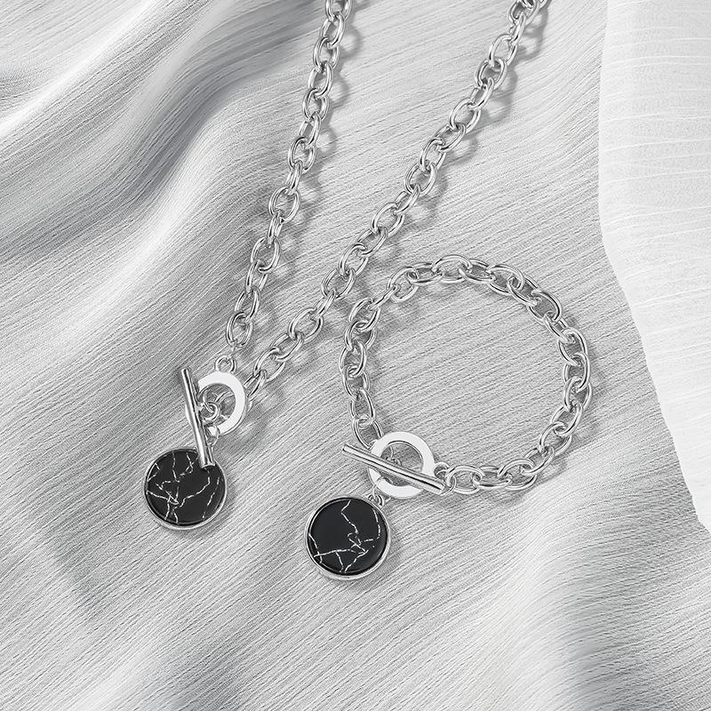 Colliers chaîne minimalistes cou simples de femme ronde Pendentif en marbre Hip Hop Charm Bracelet Collier Set Bijoux Fashion Statement Femme