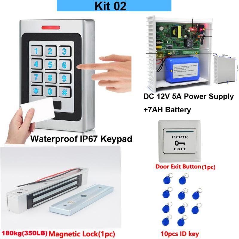 Controle de Acesso de Impressão digital RFID Cartão de Wapterproof Ketpad Sistema Conjuntos DC12V 5A fonte de alimentação w / bateria de backup AC 100 ~ 240V 180kg Bloqueio magnético