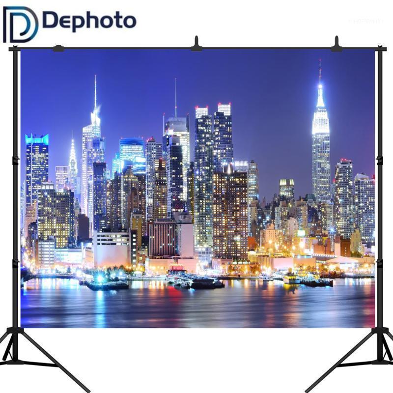 Dephoto new york city manhattan gece sahne gökdelen kentsel ışık fotoğraf backdrop vinil fotoğraf arka plan stüdyo props1
