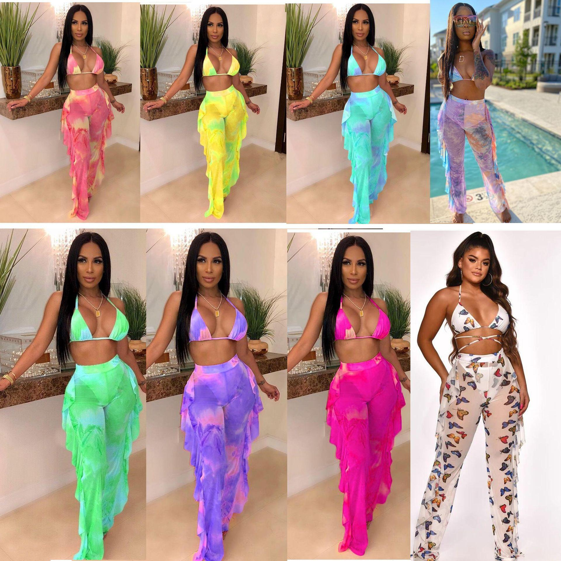 Women Sexy bikini set 2pcs swimsuit fashion print Perspective mesh ruffles cover up long pants+Sexy vest women summer outfits with knickers