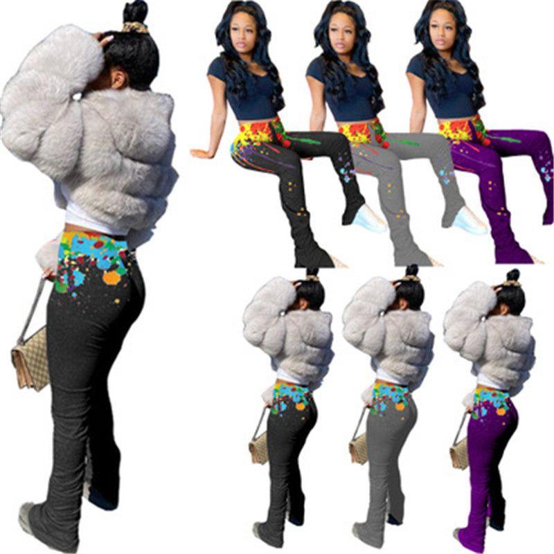 Frauen Splash Ink Element Hosen Fashion Trend Falten Split-elastische Taillen-dünne lange Hosen-Designer Frauen Neue Herbst-beiläufige dünne Hosen