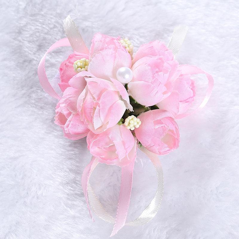 50 pcs / conjunto de casamento de casamento de casamento irmãs de dama de honra irmãs pulso flor decorativa flor nupcial Prom simulação de flores pulseira 222 N2
