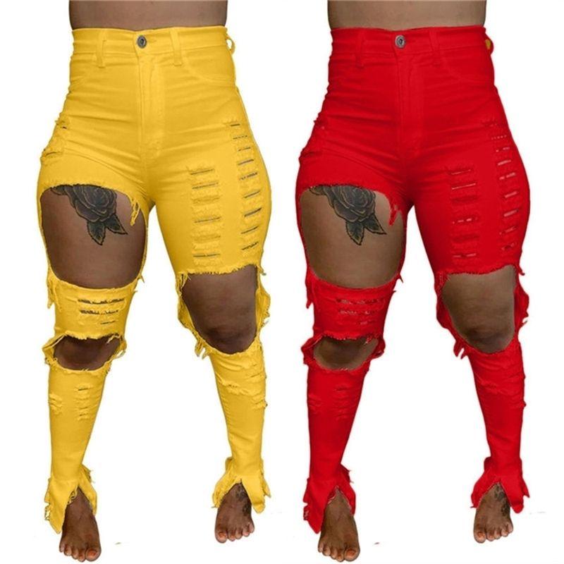 Женские джинсы разорванные штаны тонкие тощие дыры джинсовые персонализированные дизайнеры женские длинные джинсы полые брюки карандаши брюки уличные