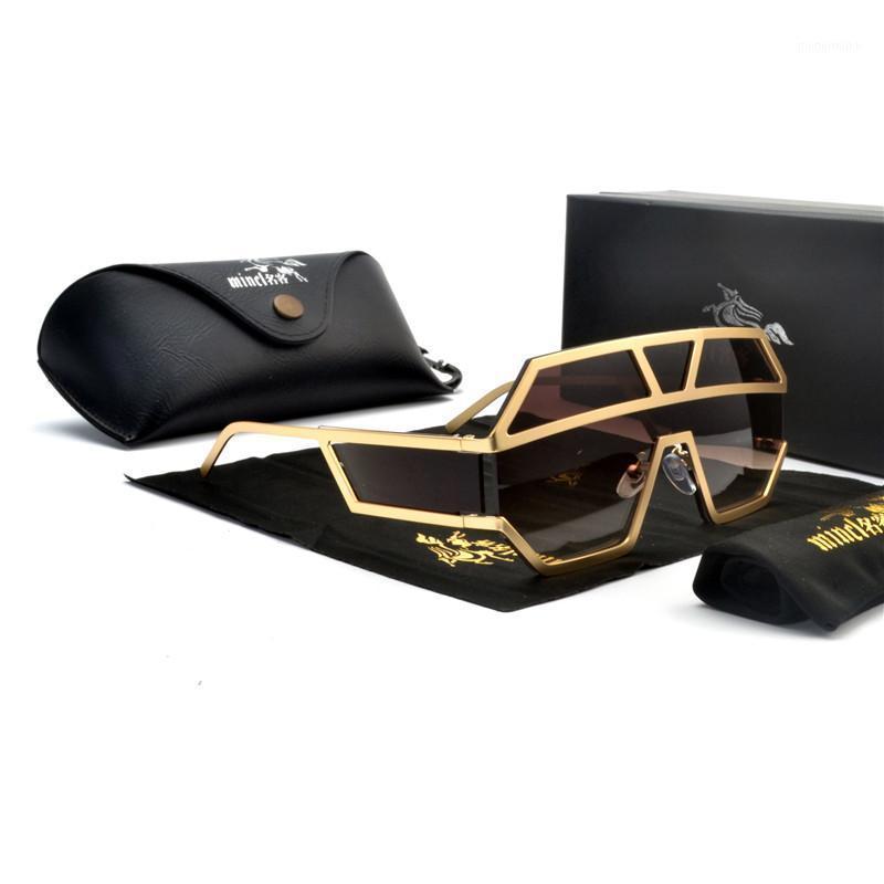 Piece Piece Flat для рамы Одна женская 2020 Солнцезащитные очки Сплав Плоский Солнца Полые Женские Ретро оттенки Черные Очки FML1 LKMTT