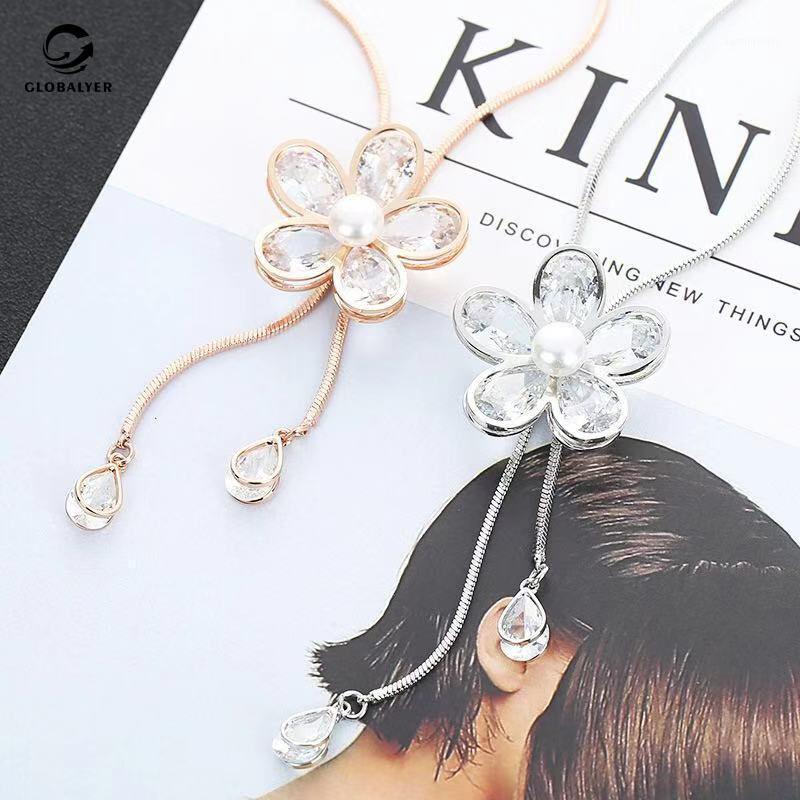 Свитерская цепь осень корейская мода дикое ожерелье подвесной женский длинный ретро пентаграмма циркон висит цепь с ювелирными изделиями 4911