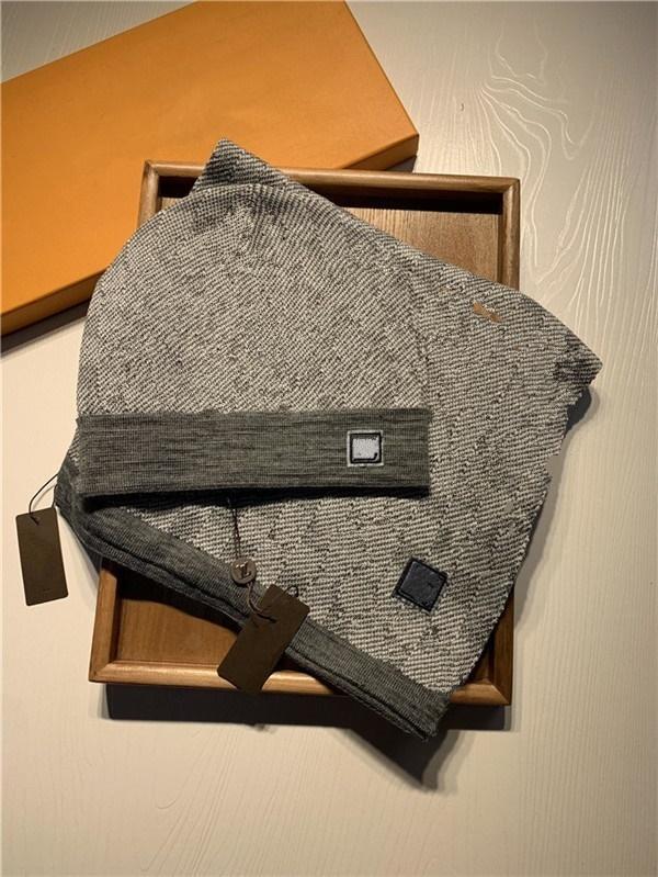 Mode haute qualité conception lettre broderie écharpe chapeau hommes et femmes écharpe de laine Bonnet Beanie chapeau foulard