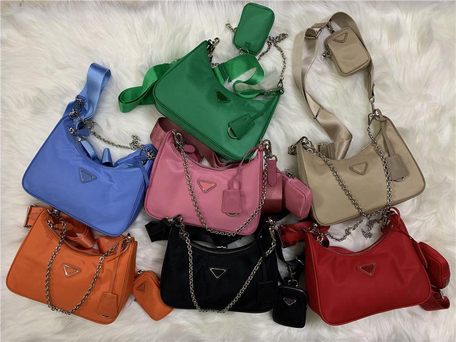 2020 بيع 3 قطعة مجموعة أكياس النساء حقيبة crossbody حقيقية النايلون حقائب اليد المحافظ سيدة حمل الحقائب عملة محفظة ثلاثة البند