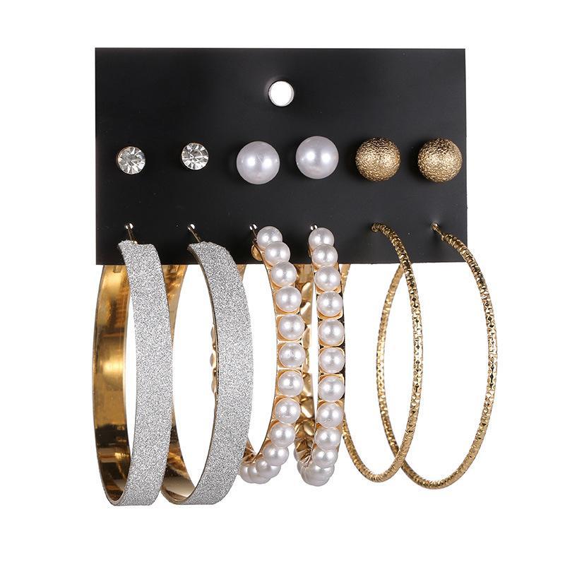 Titulaire de la carte d'usine Souhaite à la vente chaude Nouvelle mode européenne américaine perle exagérée Hoop Stud mix 6 paires plaque de boucle d'oreille de diamant givré