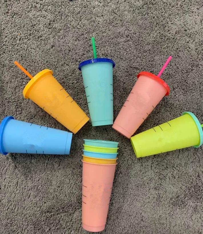 24OZ Color Change Tumblers Plastic Drinking Juice Cup With Lip And Straw Magic Coffee Mug Costom color changing plastic cup(1set=5pcs)