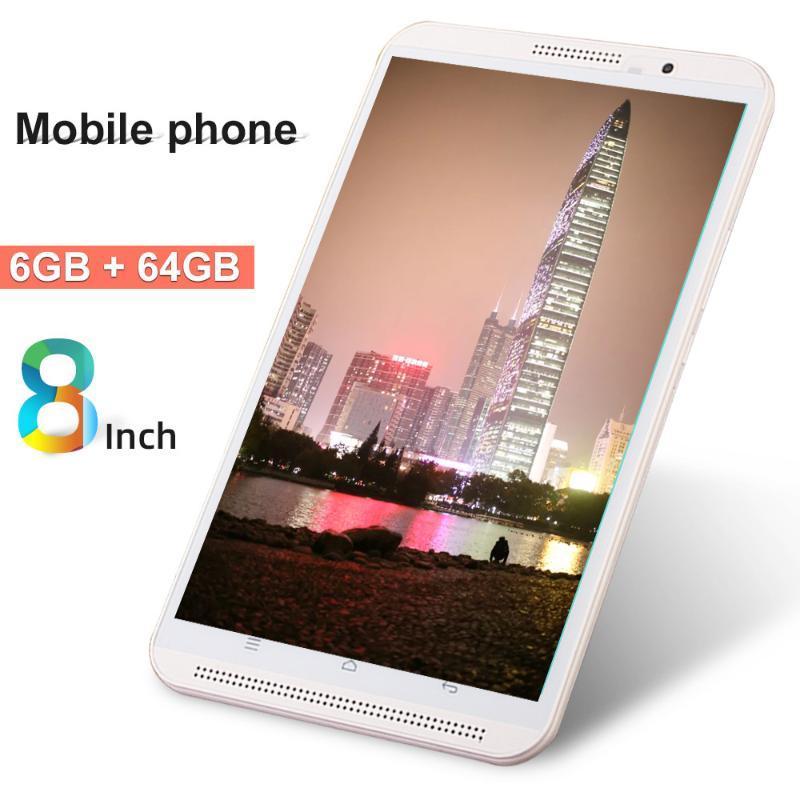 Tablet PC de 8 polegadas Original 4G Telefone Chamada 6G + 64G Android 9,0 Octa Core 3G 4G LTE Comprimidos Móveis Dual Sim WiFi Bluetooth GPS