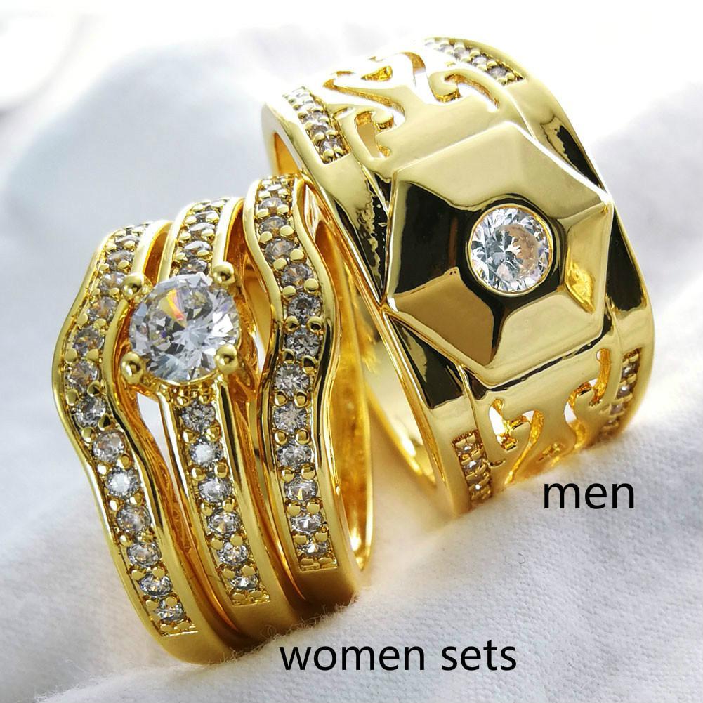 impostazione Artiglio zircone uomini donne anello di nozze insieme Coppia uomini prepotenti formato da 8 a 15, il formato delle donne 5-10 R285, R179