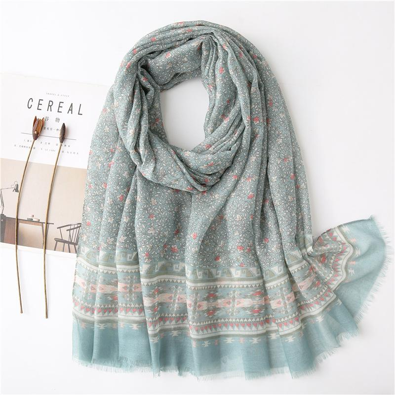 Новое Литературное синий цветочный небольшой свежий весной и летом хлопка и льна Feel Солнцезащитный шаль шарф пляжное полотенце