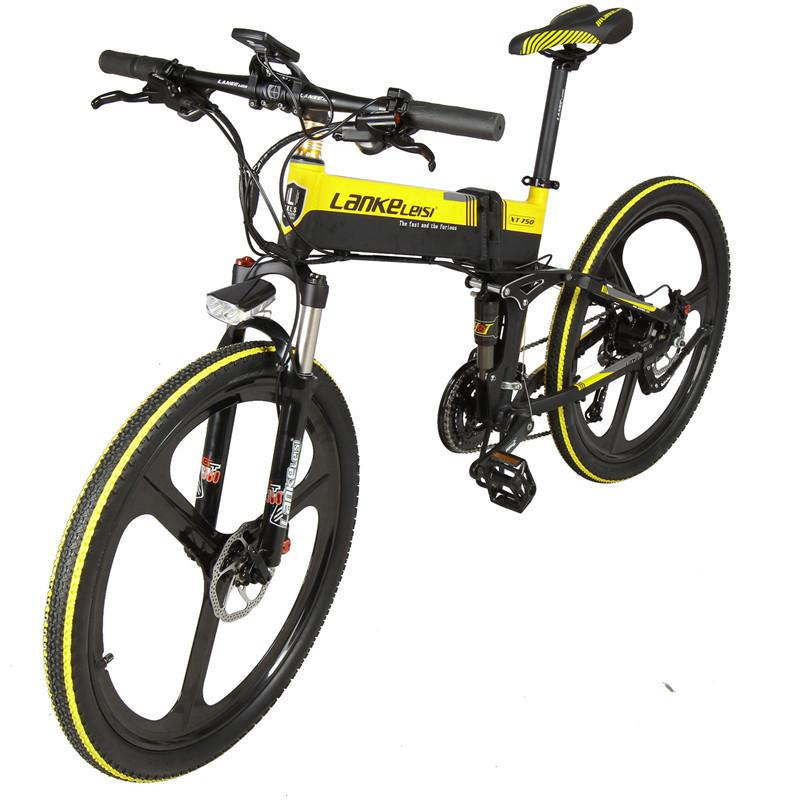 LANKELEISI XT750 Sports Edition Electric Mountain Bike 400W 48V Electric Bicycles EU Foldable E Bike With Hydraulic Disc Brake