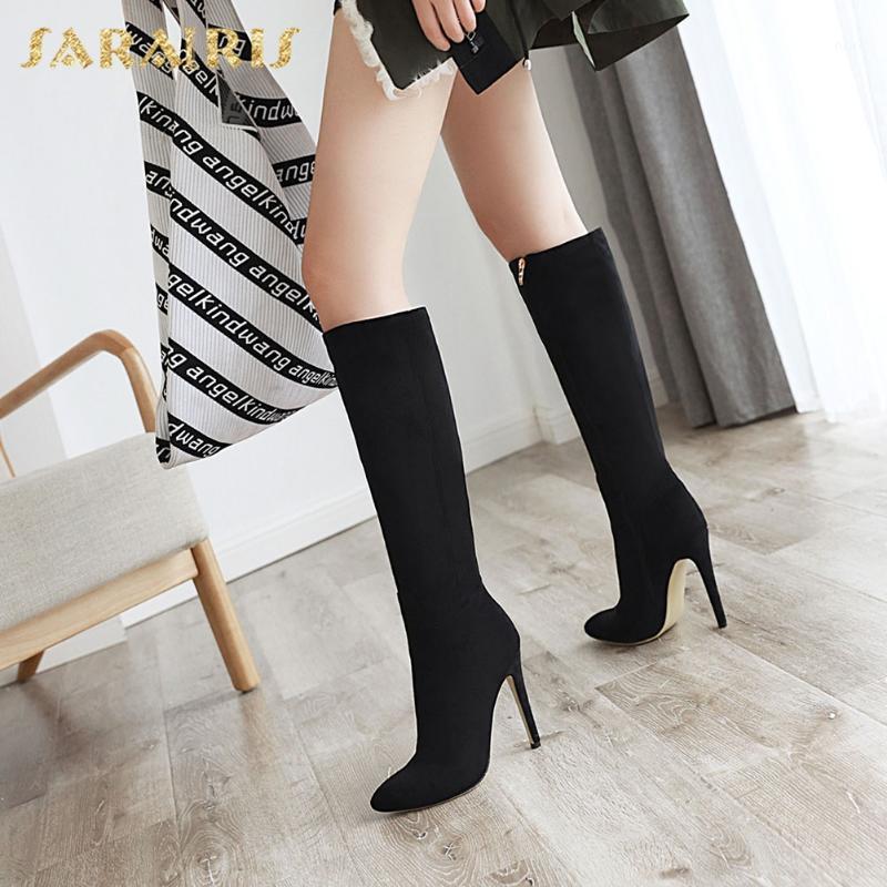 Sarairis 2020 Neue Ankünfte plus Größe 46 Sexy dünne High Heels Mid Calf Stiefel Frauen Schuhe Spitzige Zehe Zuge Weisungsmode Stiefel1