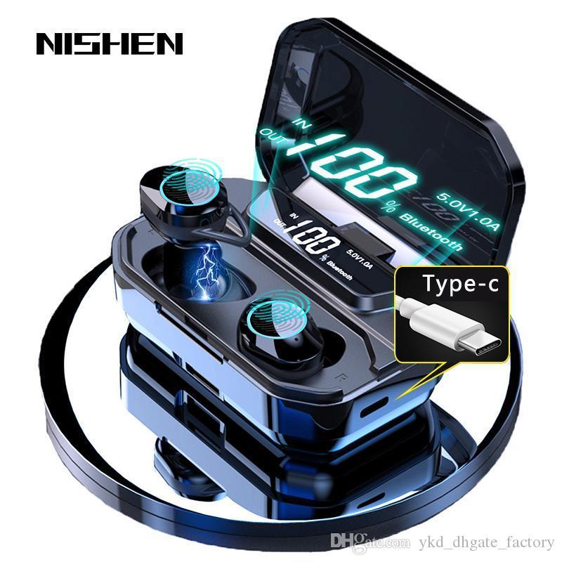 G02 V5.0 Bluetooth стерео наушники Беспроводные IPX7 водонепроницаемый сенсорный наушники гарнитура 3300mAh батареи Светодиодный дисплей типа с Charge Case