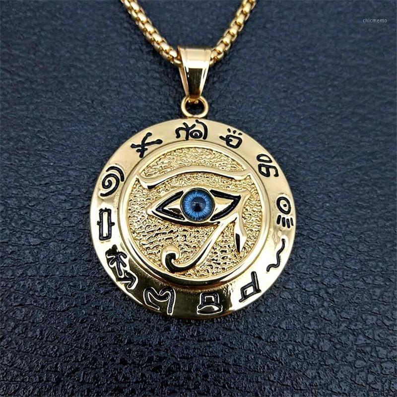 مصر القديمة عين حورس قلادة القلائد للنساء والرجال لون الذهب الفولاذ المقاوم للصدأ جولة مجوهرات دروبشيبينغ 1