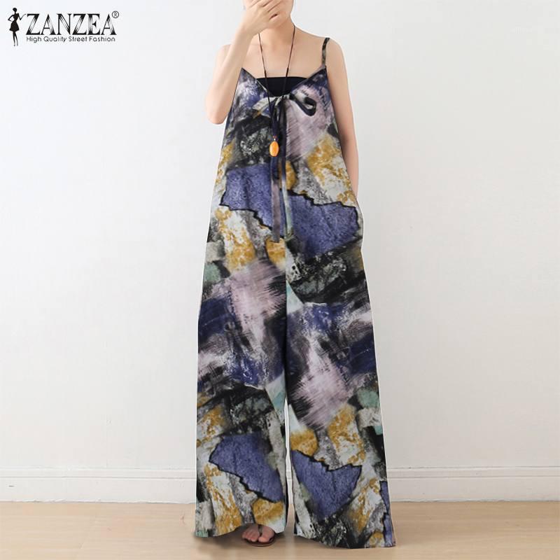 Женские комбинезоны Rompsers Plus Размер Женское лето Zanzea мода напечатанные широкие брюки ног спагетти ремешок длинные плейсимы женские