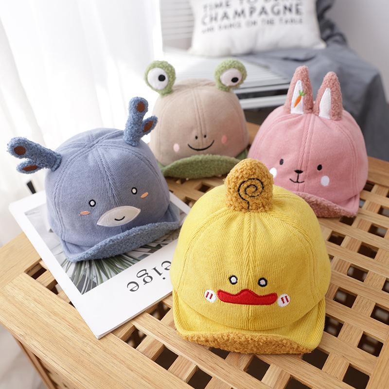 Cap outono e inverno bebê Casual Plush Bonnet Aqueça animal bonito pequeno chapéu meninos e meninas boné de beisebol Brim Macio