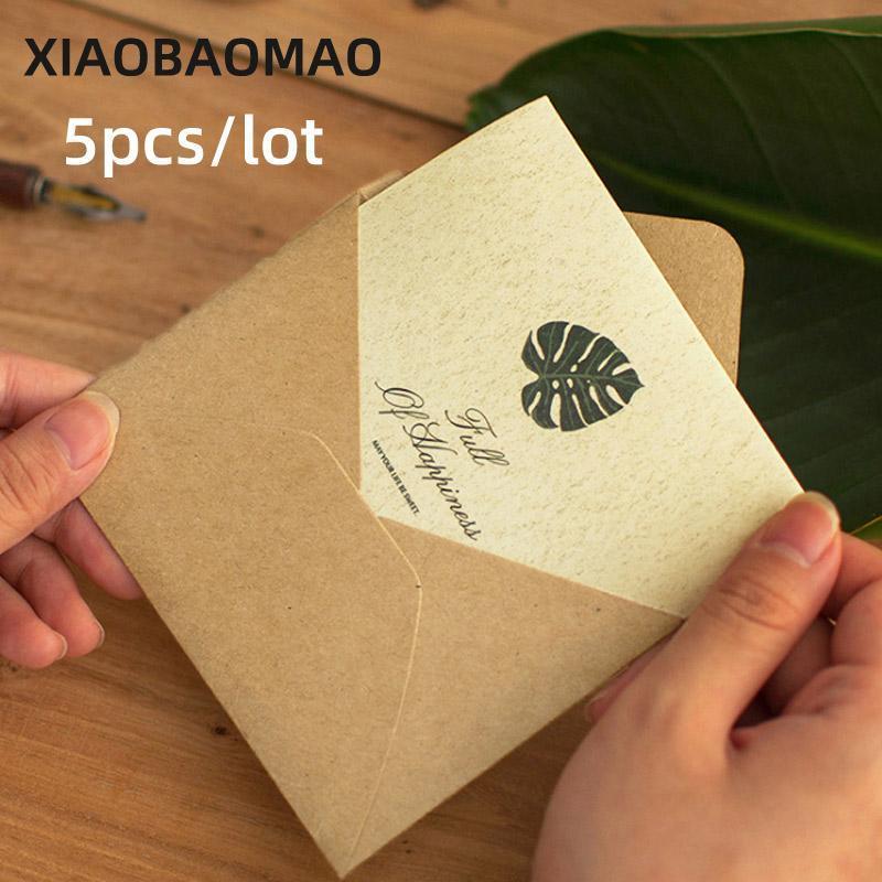 5pc Kawaii fleurs de plantes voeux enveloppe carte dessin animé enfant grâce fournitures de cadeaux carte d'anniversaire