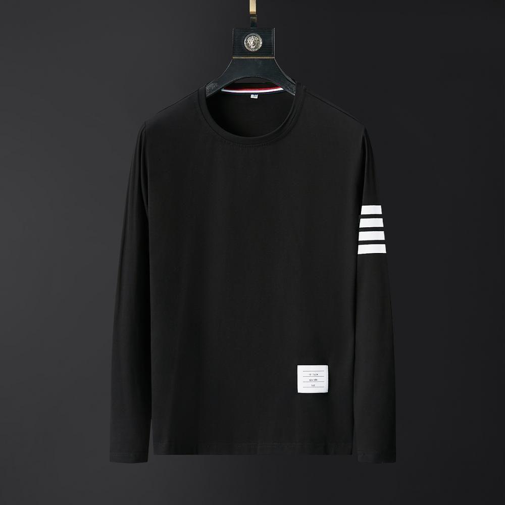 2020 Marque Mens T-shirts Graphique Automne à manches longues Vêtements Plus Taille Homme Haute Qualité Style coréen Mode Noir Hauts à rayures Noir 1021