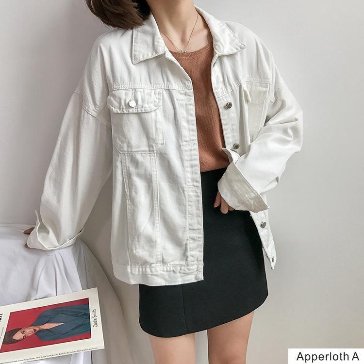 2020Women jaqueta jeans Multicolor longo basical única jaqueta jeans casaco breasted completa mangas BF moda soltas casacos Mulheres Denim