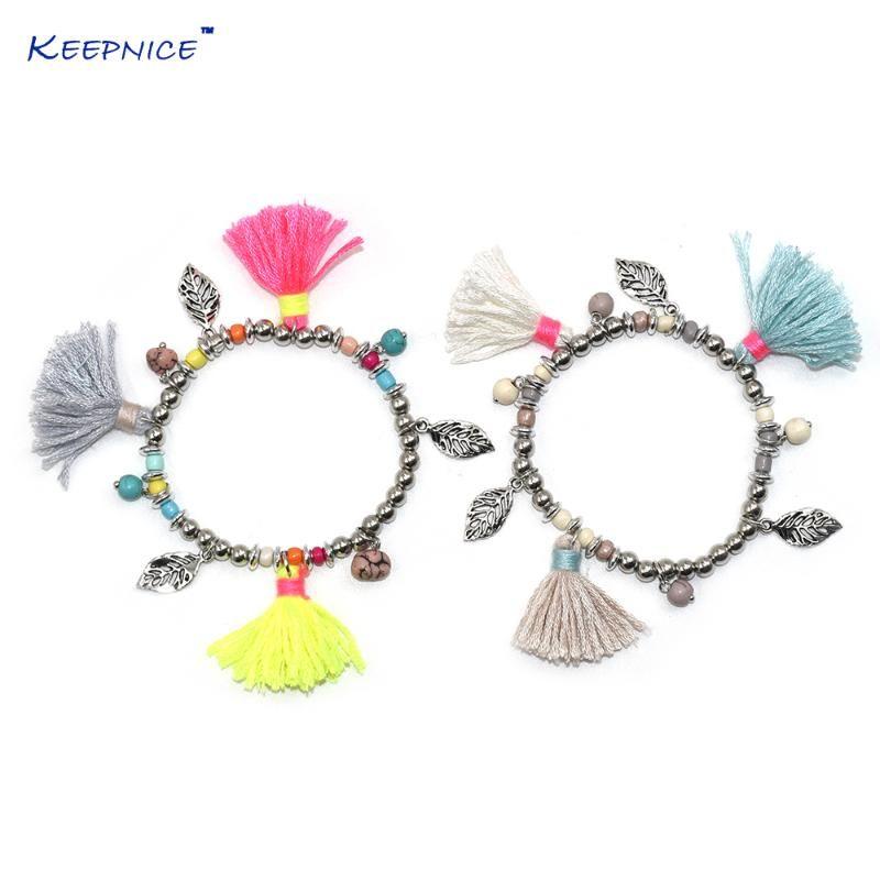 Nuevas pulseras hechas a mano de joyería de Boho europea colorido tassel charm brazaled brazalet para mujeres