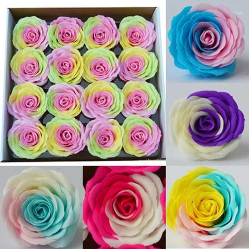 16 шт. / Коробка поддельных цветов радуги роза 3 цвета мыло цветок голова гигантская мыльная головка букет магазин Валентина подарок