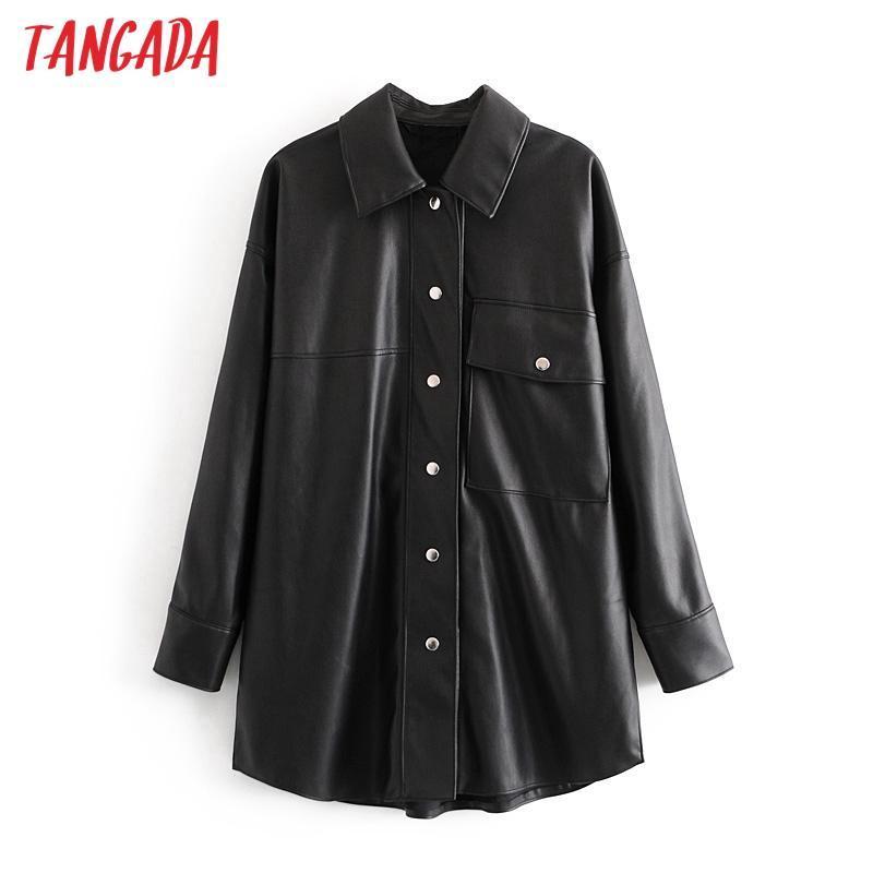 Kadın Ceketler Tangada Kadınlar Siyah Faux Deri Ceket Kaban Açın Yaka Bayanlar Uzun Kollu Gevşek Boy Erkek Arkadaşı QN56