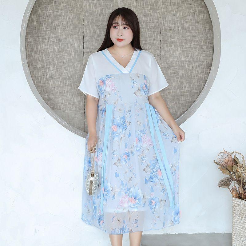 XL XXL 3XL 4XL новое лето 2020 женщин длинные шифоновые платья с коротким рукавом большой размер синий розовый цветок печати плиссированные середины икры марочные леди