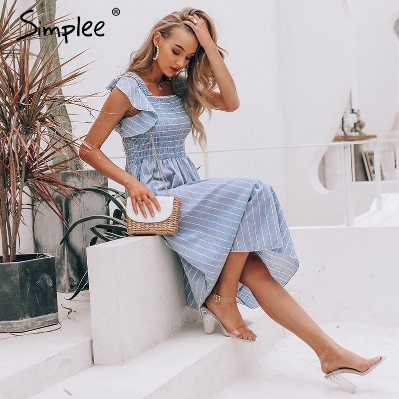 Simplee Vintage Gestreifte Frauen Lange Rüsche Leinen Blau Elegantes Sommerkleid Casual Baumwolle Mode Weibliche Strand Vestidos Y200805
