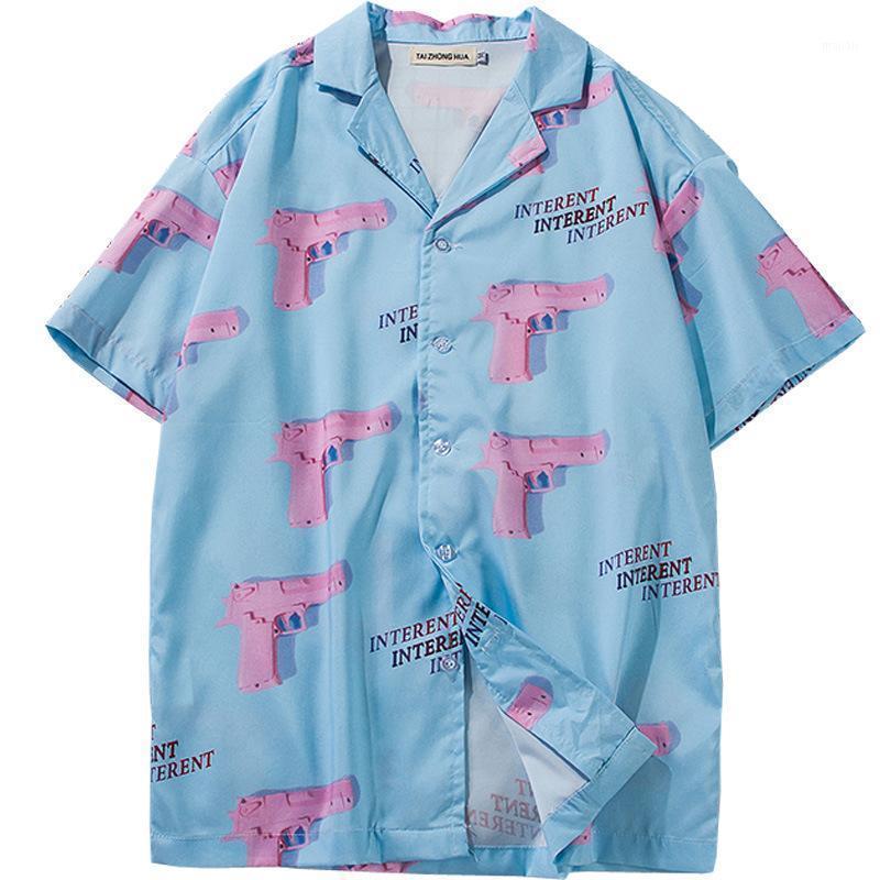 Мужские повседневные рубашки 2021 Мужчины Летние Гавайи Стиль Розовый пистолет 3D Распечатать уличную одежду Хип-хоп с коротким рукавом Harujuku Женская мода рубашка1