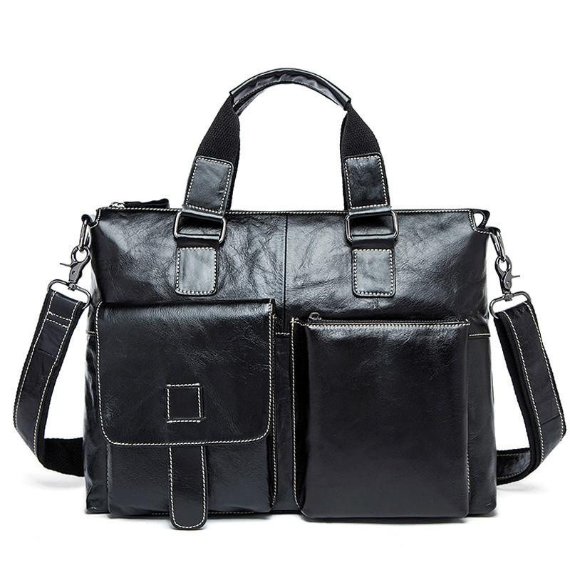 Male 14 Laptop Bags Messenger For Men Briefcase Lawyer Business Briefcases Genuine Leather Men's Bag Q0112