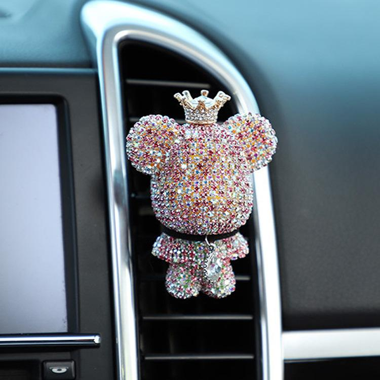 الروائح السيارات كليب منفذ الهواء الإبداعي الماس رصع العنيف الدب العطور منفذ الهواء كليب الروائح العطور سيارة تحمل منفذ الوردي