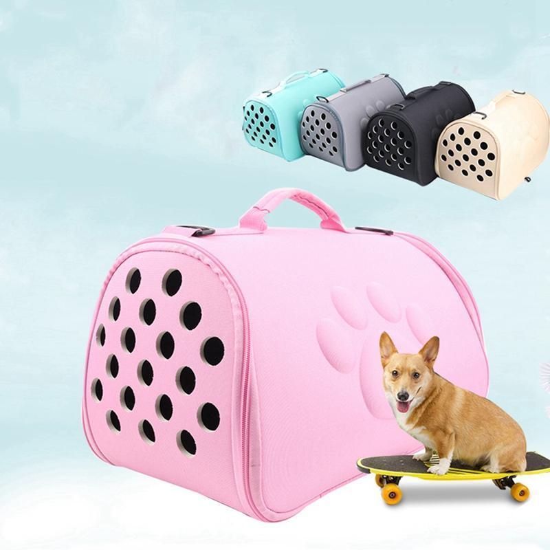 Pet Outdoor Portatile Borsa resistente all'usura Dogs traspirante cani pieghevoli Gatti a spalla Supplementi per il trasporto Solid Color antiurto Mesh Pippfa