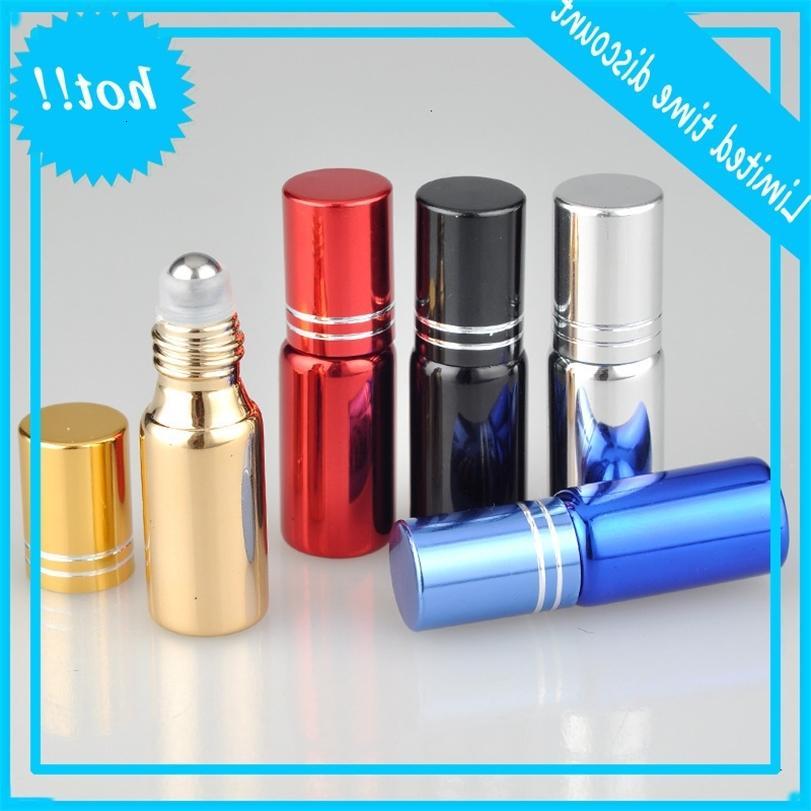 병에 5ml UV 코팅 에센셜 오일 롤 스테인레스 스틸 롤러 공 알루미늄 뚜껑 향수 향수