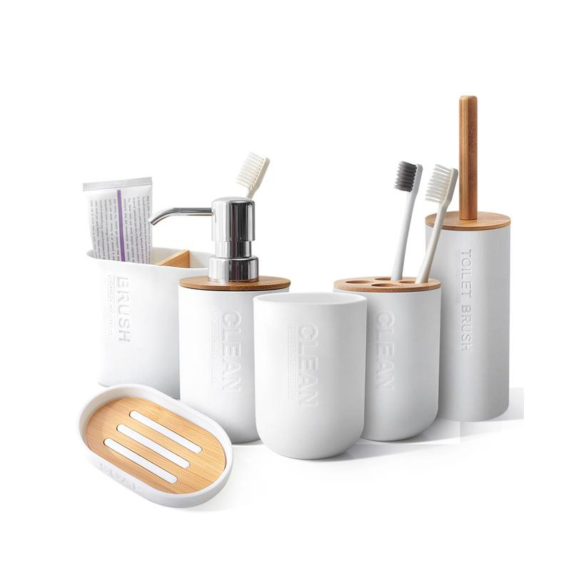 Bamboo 6Pcs Bathroom Set Toothbrush Holder Bathroom Accessories Toilet Brush Cup Soap Holder Press Emulsion Dispenser Container W1219