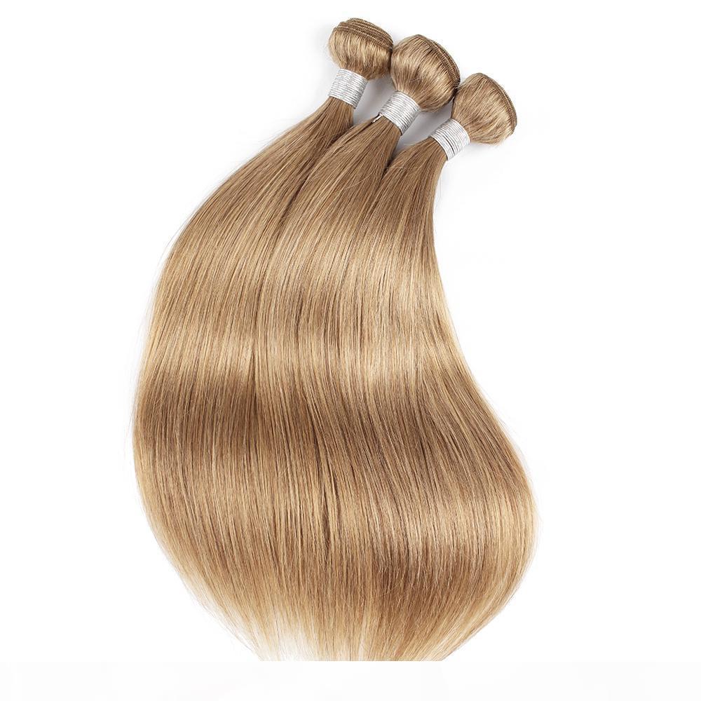 # 27 Honey Blonde Rubio Human Human Hair Bundles Brasileño Peruano Malasia India India Virgen Remy Extensiones de cabello 1 o 2 paquetes 16-24 pulgadas