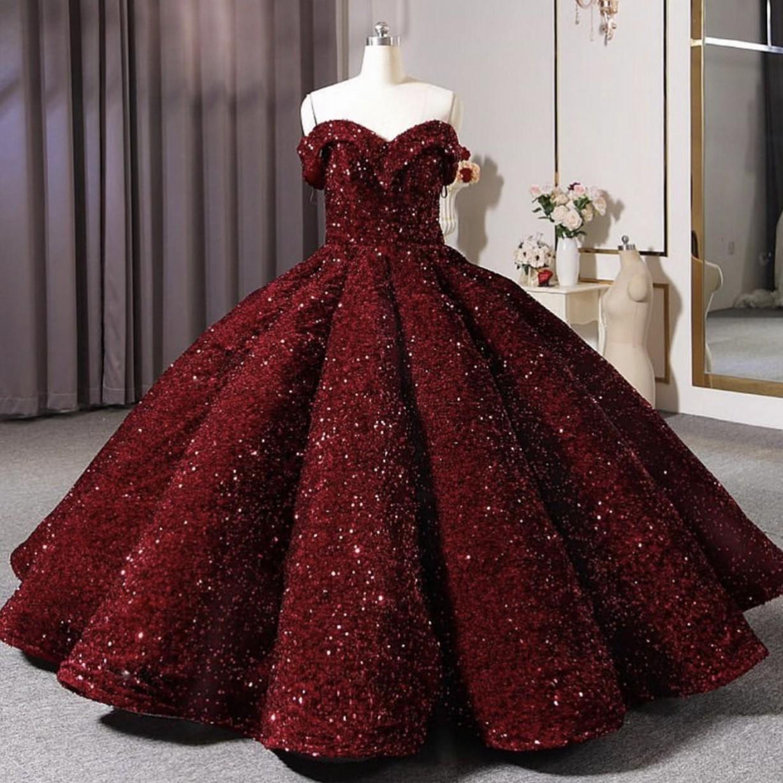 Bling Bling Burgundy Sequins Quinceanera Dresses 2021 겸손한 Sweet 16 Prom 생일 파티 볼 가운 데뷔 가운 가운 vestidos de 15