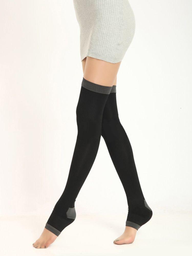 420D 80CM Womens calze di nylon vene varicose compressione bruciare il grasso Fit dimagrante bellezza gamba sopra il ginocchio alto calzini senza dita